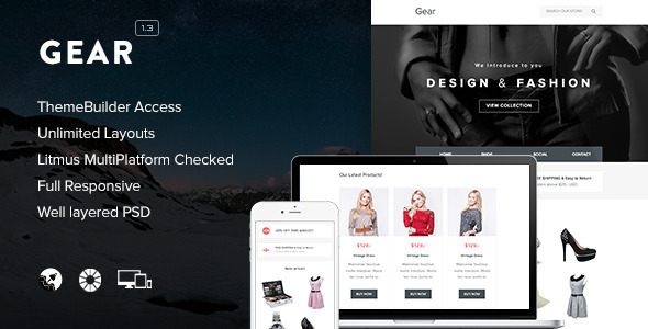 Gear - Responsive Email + Themebuilder Access - Newsletters Email Templates