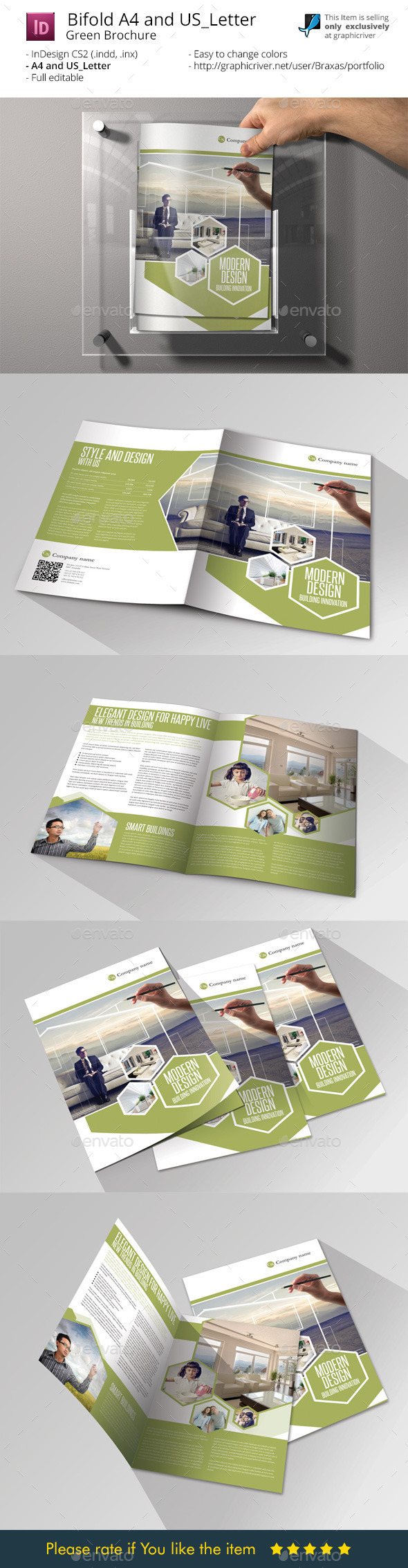 GraphicRiver Modern Design InDesign Bifold Brochure 9461409