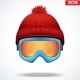 Knitted Woolen Red Cap with Snow Goggles - GraphicRiver Item for Sale