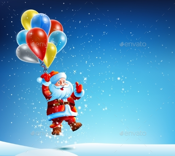 GraphicRiver Santa Claus Flies on a Balloon 9461552