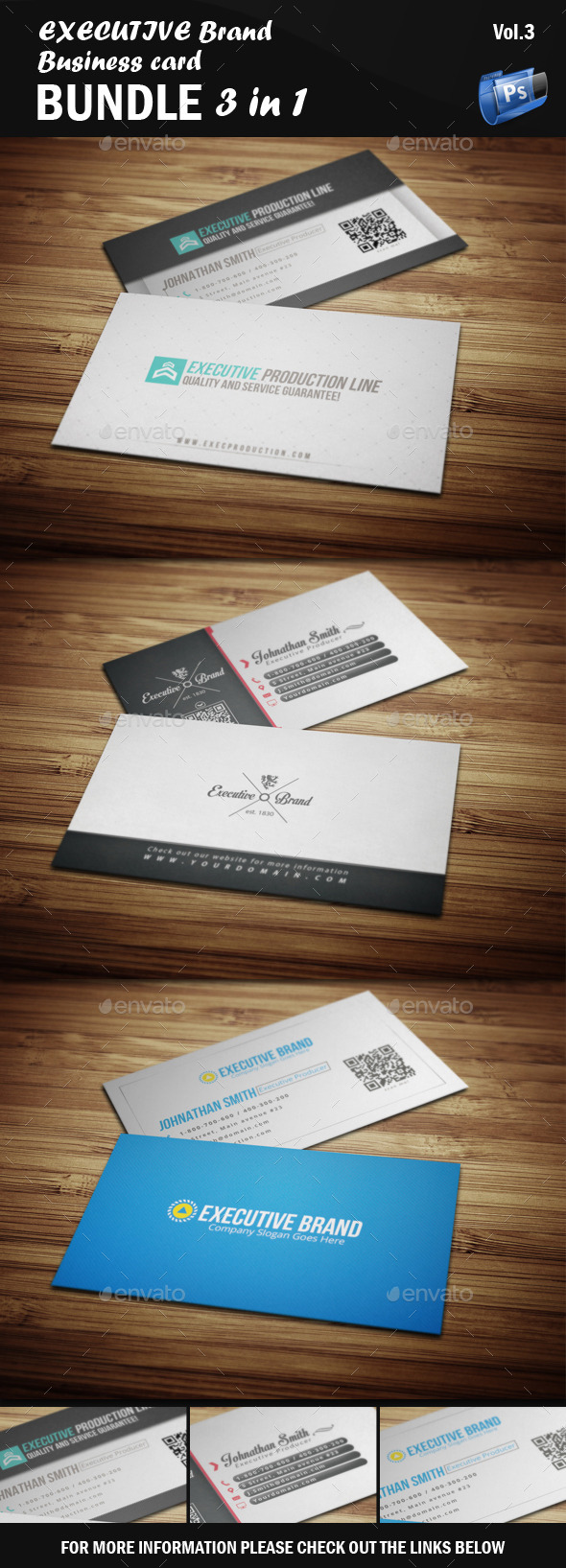 GraphicRiver Executive Business Card Bundle 3 in 1 [Vol.3] 9461609