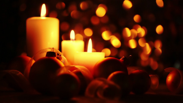 Christmas Candles on a Dark Background