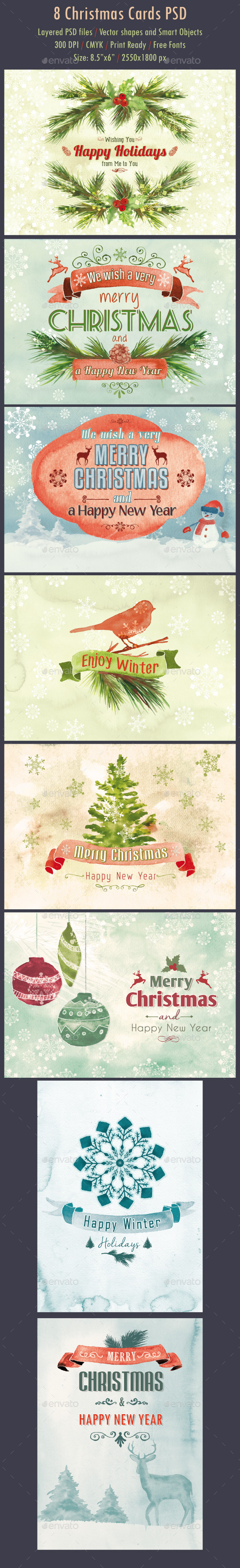 GraphicRiver 8 Watercolor Christmas Cards PSD 9461968
