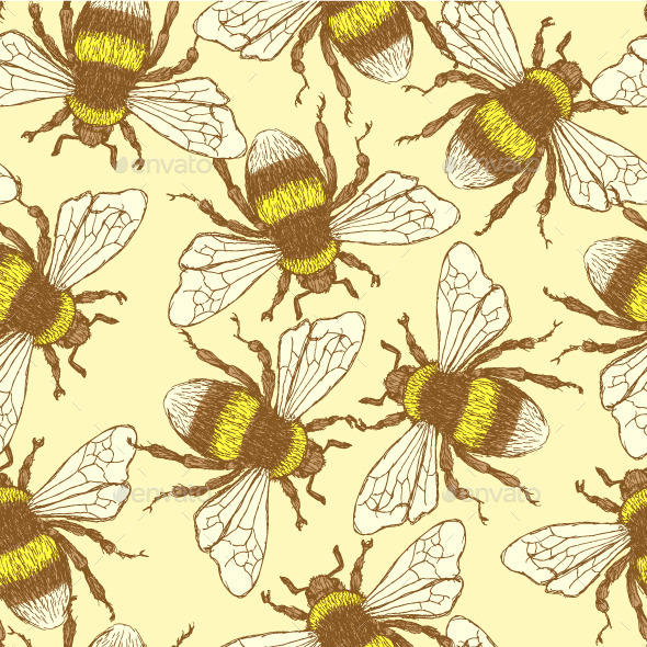 GraphicRiver Vintage Bumble Bee Pattern 9462363
