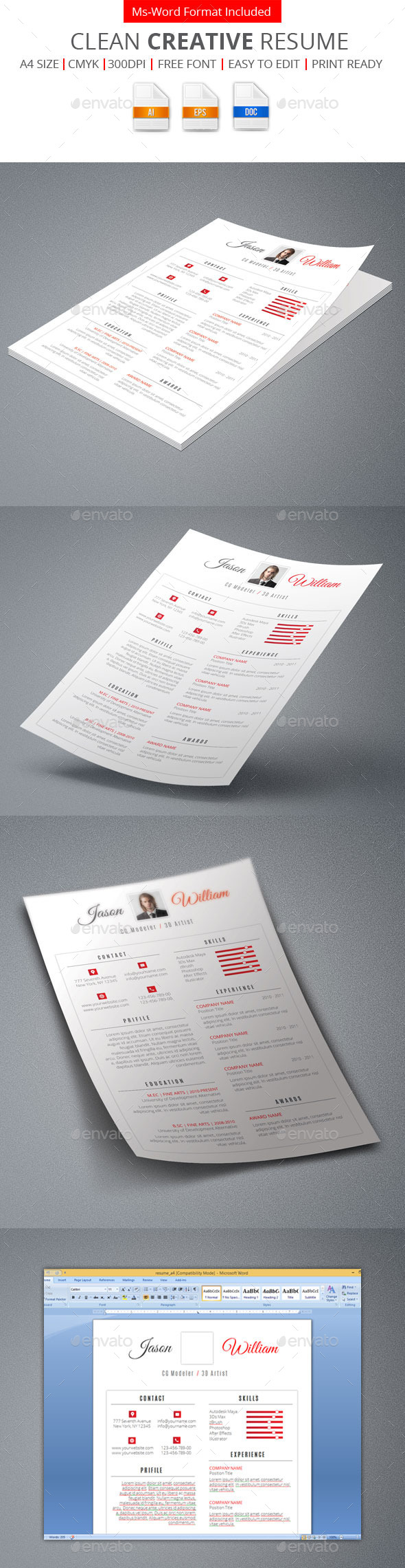GraphicRiver Clean Creative Resume 9462833