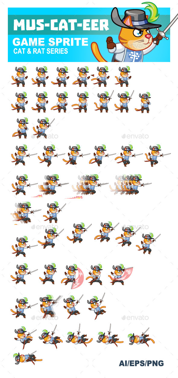 GraphicRiver Mus-cat-eer Game Sprite 9463650