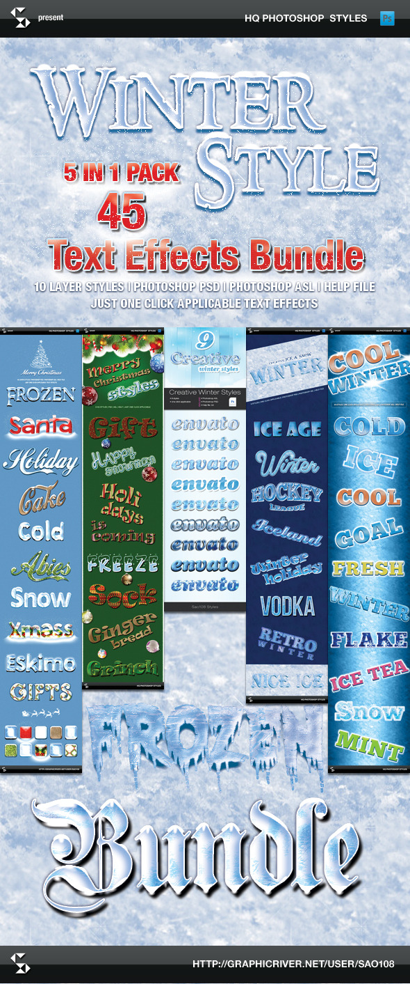 GraphicRiver Winter Style Text Effects Bundle 9463705