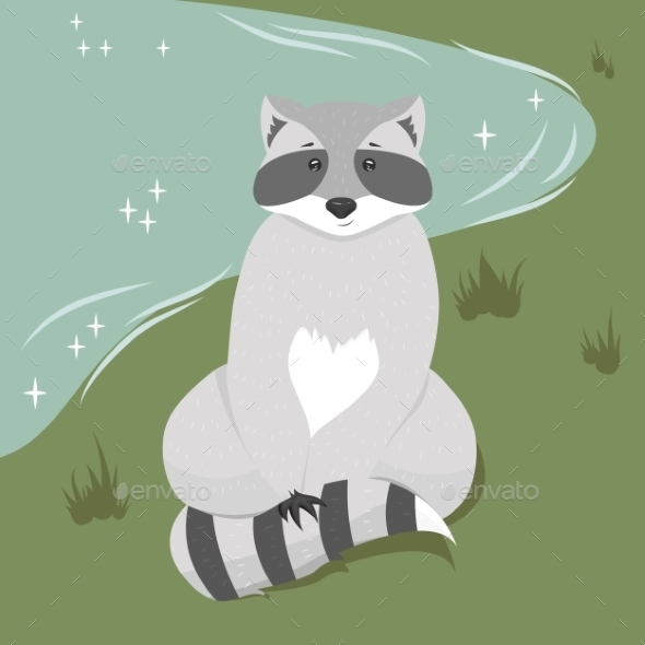 GraphicRiver Sitting Raccoon Illustration 9463898