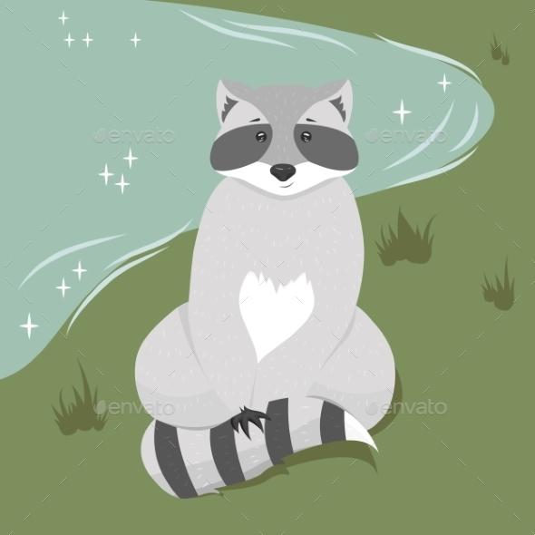 GraphicRiver Sitting Raccoon Illustration 9463898