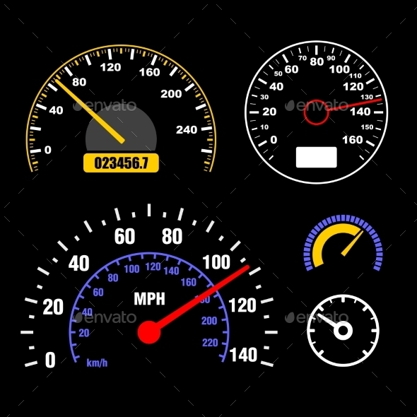 GraphicRiver Speedometers Set on Black Background 9463927