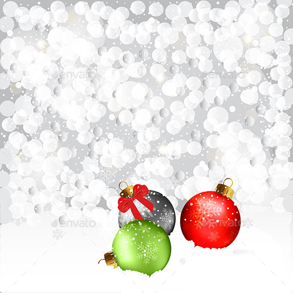GraphicRiver Christmas Baubles In Snow 9426085