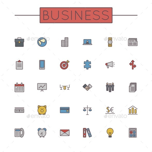 GraphicRiver Vector Colored Business Line Icons 9464219