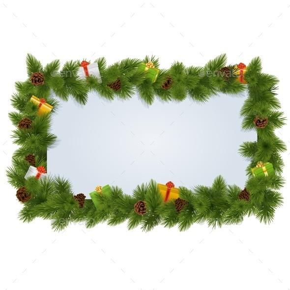 GraphicRiver Fir Tree Frame 9464261