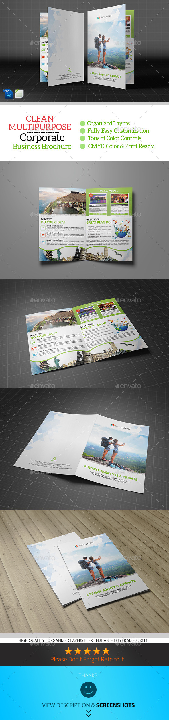 GraphicRiver Holiday Travel Agency Bifold Brochure 9347873
