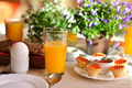 Festive continental breakfast with red caviar, soft-boiled egg and orange juice. - PhotoDune Item for Sale