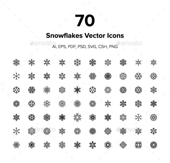 GraphicRiver 70 Snowflakes Vector Icons 9464342