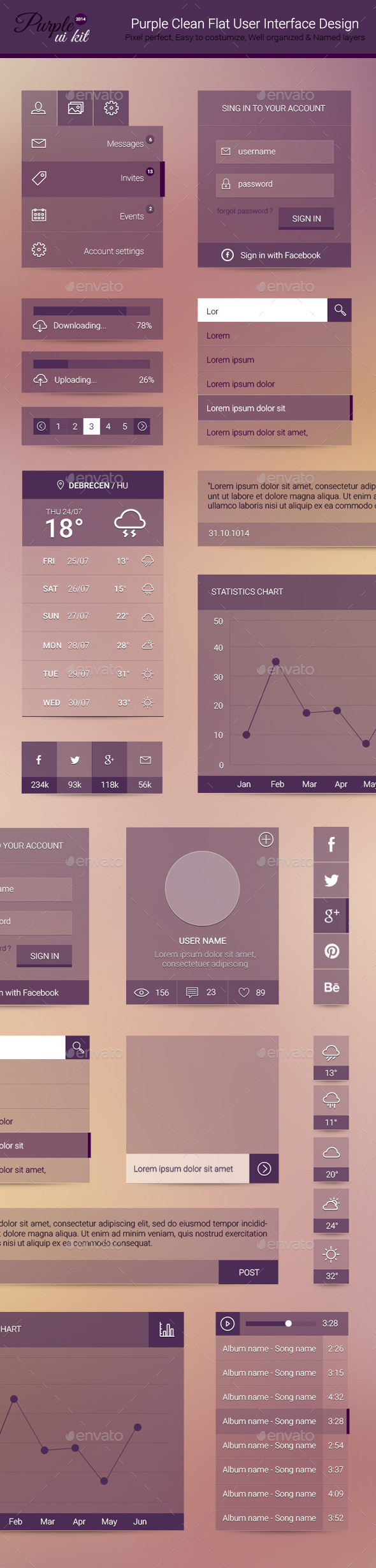 Purple Clean Flat User Interface Design