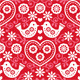Folk Art Red Seamless Pattern with Birds
