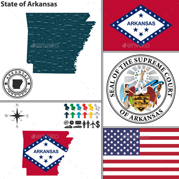 GraphicRiver Map of State Arkansas USA 9465367