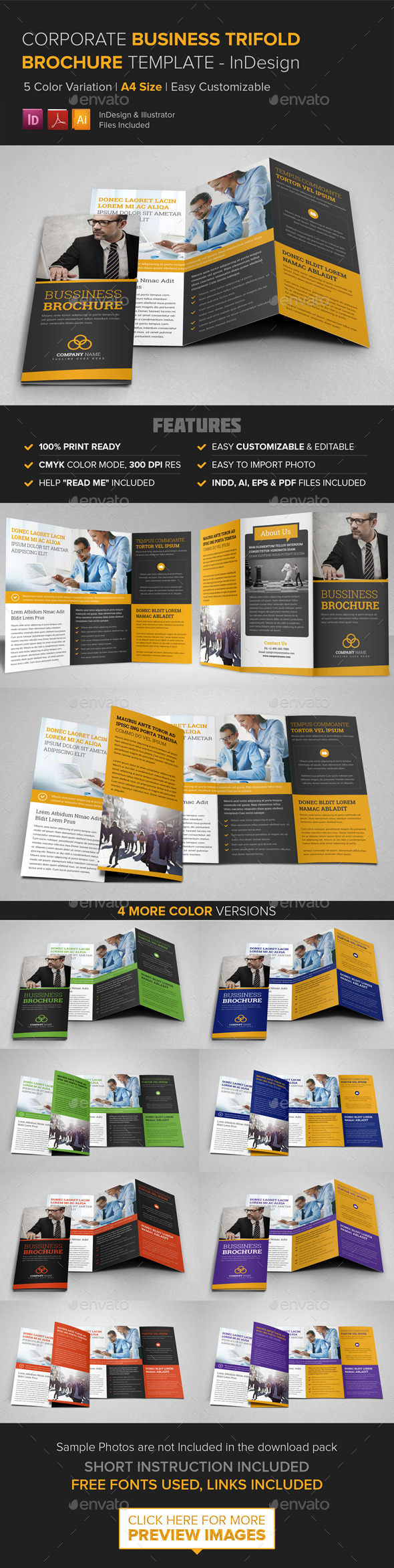 GraphicRiver Corporate Business Trifold Brochure InDesign 9465425