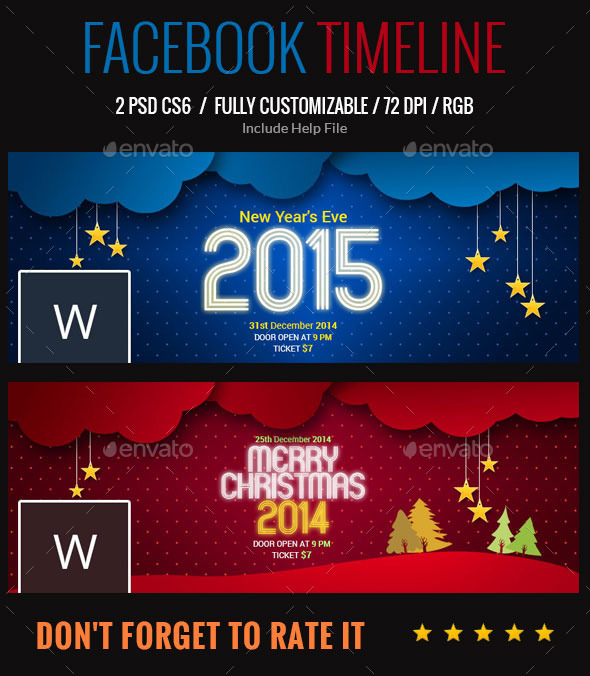GraphicRiver Christmas and New Year facebook Timeline 9465435