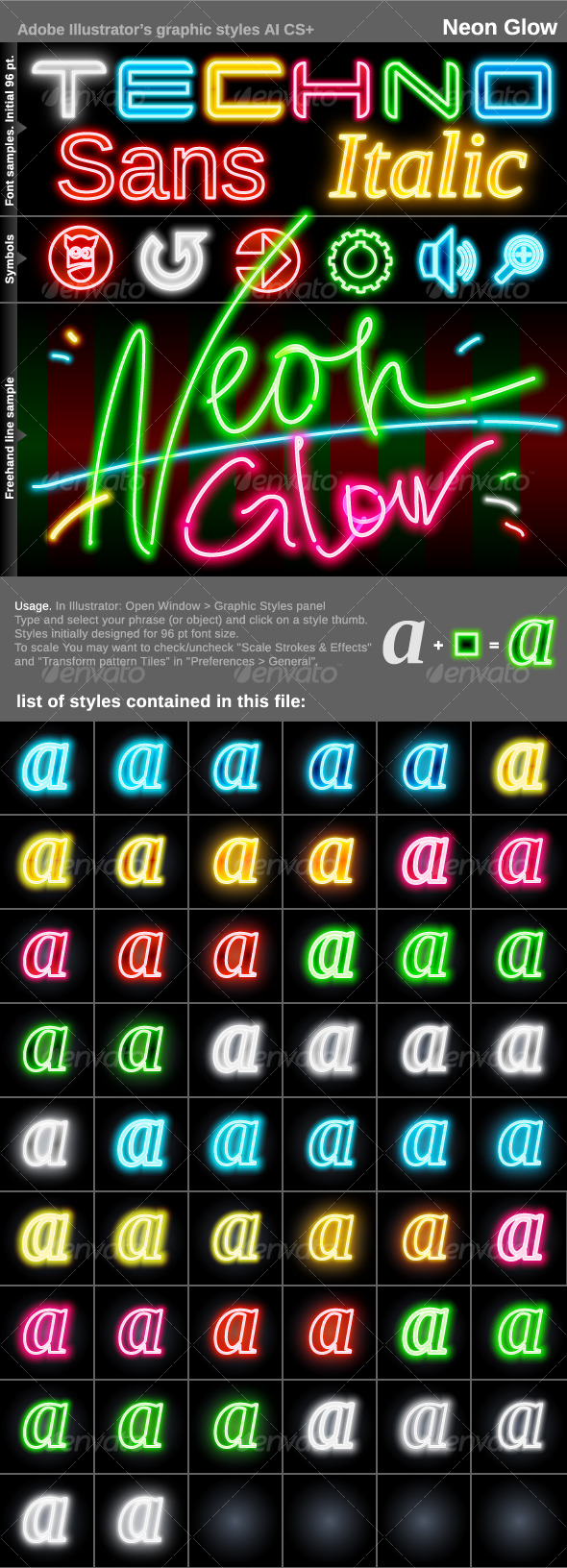 GraphicRiver Illustrator Graphic Styles Neon Glow 121050