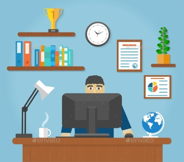 GraphicRiver Man Sitting at Computer Desk 9465867