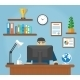 Man Sitting at Computer Desk - GraphicRiver Item for Sale