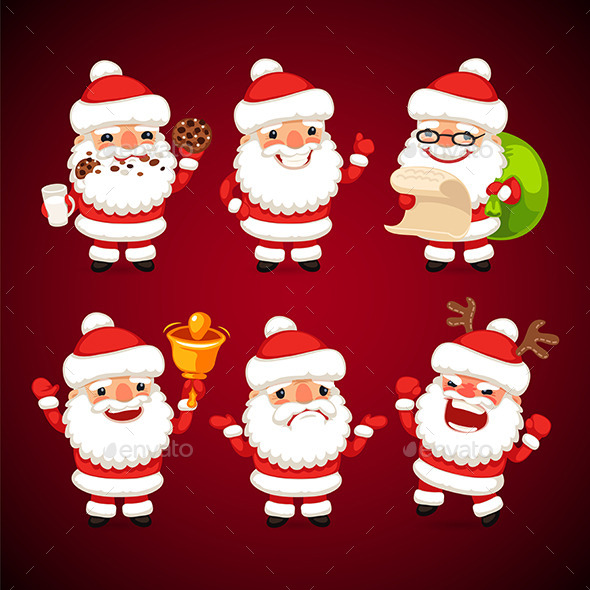 GraphicRiver Set of Cartoon Santa Claus in Various Poses 9431235