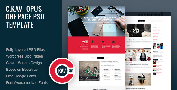 ThemeForest C.Kav Opus One Page PSD Template 9437856