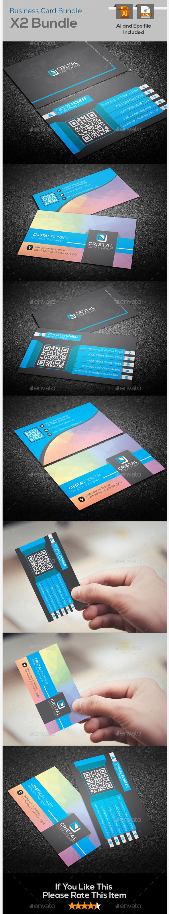 GraphicRiver Colorful & Creative Business Card Bundle X2 9466413