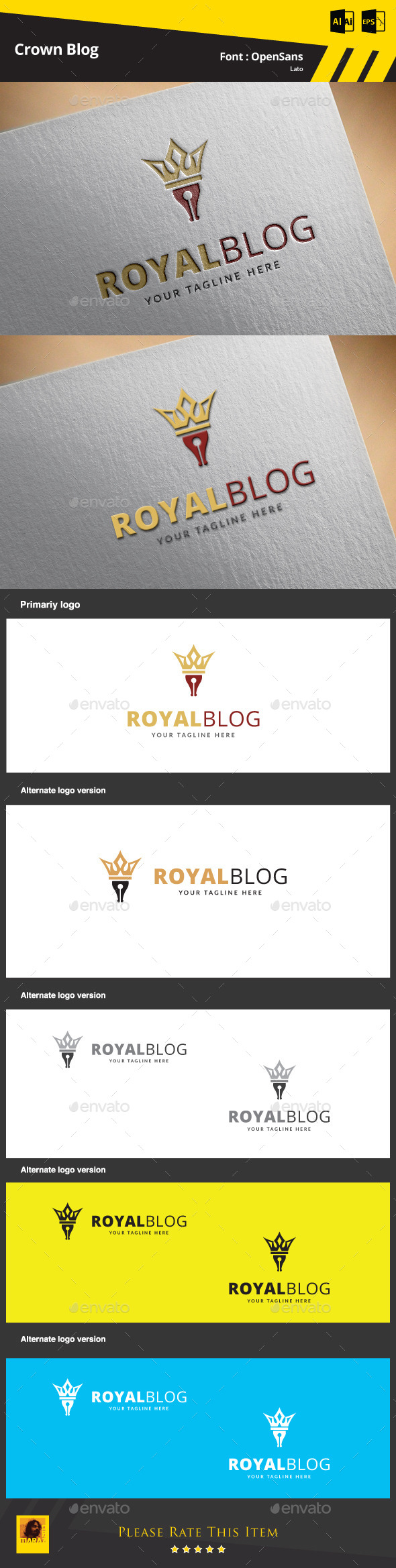 GraphicRiver Crown Blog Logo Template 9467669