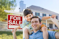 Mixed Race Father and Son Piggyback in Front House and For Sale Real Estate Sign. - PhotoDune Item for Sale