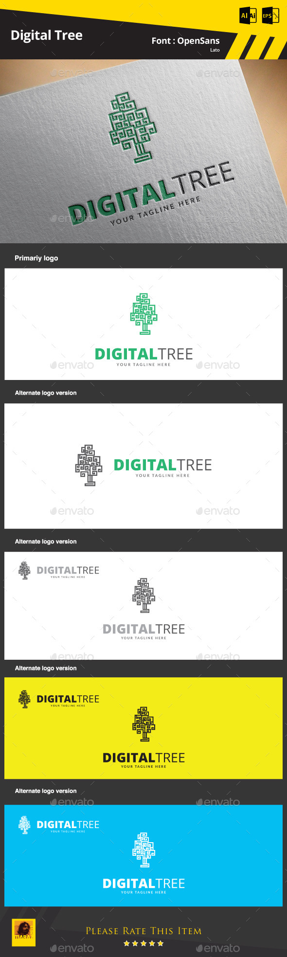 GraphicRiver Digital Tree Logo Template 9467861
