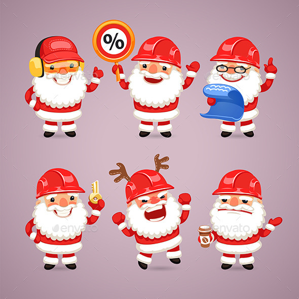 GraphicRiver Set of Cartoon Santa Claus Builders 9443075