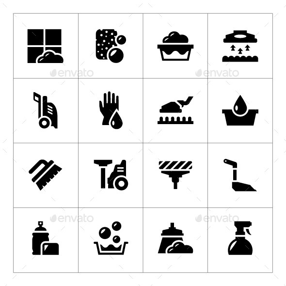 GraphicRiver Set Icons of Cleaning 9468075