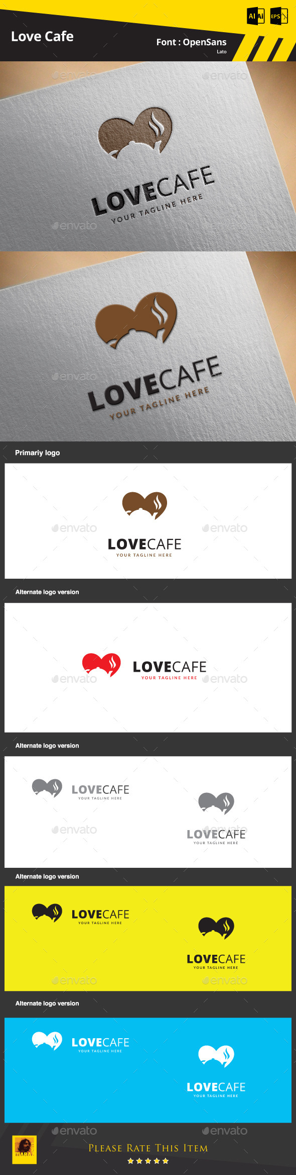 GraphicRiver Love Cafe Logo Template 9468209
