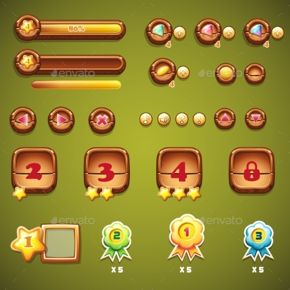 GraphicRiver Set of Wooden Buttons Progress Bars and Elements 9468700
