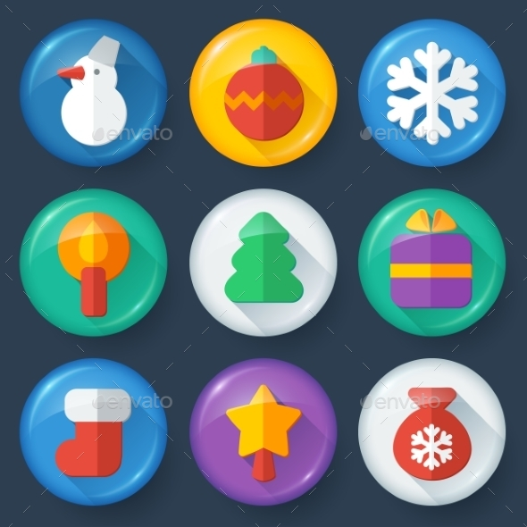 New year vector buttons in glossy flat style