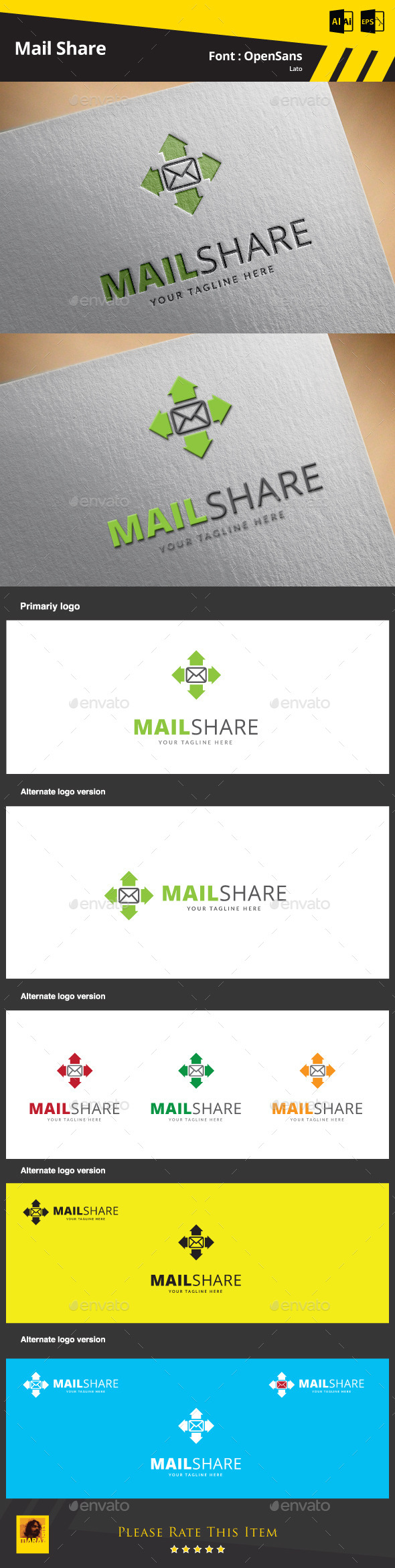 GraphicRiver Mail Share Logo Template 9468879
