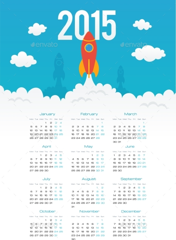 GraphicRiver Startup rocket in flat style 2015 calendar templat 9468959
