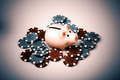 pig money box with casino chips over white - PhotoDune Item for Sale