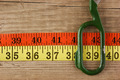 sartorial meter and scissors on the old wooden background - PhotoDune Item for Sale