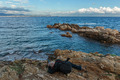 Tourist on a cliff photographing the sea, Provence, Cote d'Azur, - PhotoDune Item for Sale