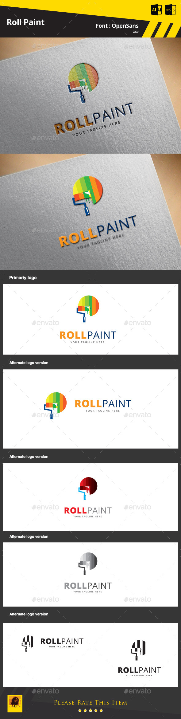 GraphicRiver Roll Paint Logo Template 9469439