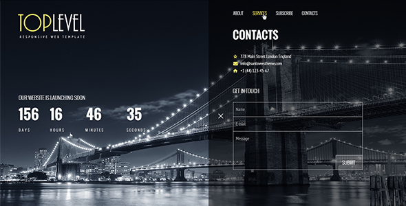 ThemeForest TopLevel Responsive Countdown Landing Page 9469464