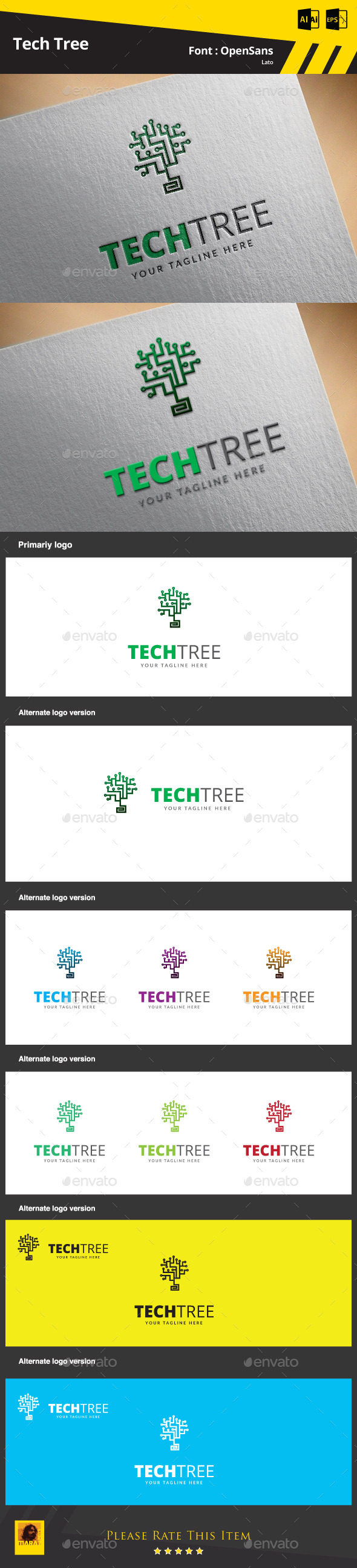 GraphicRiver Tech Tree Logo Template 9469528