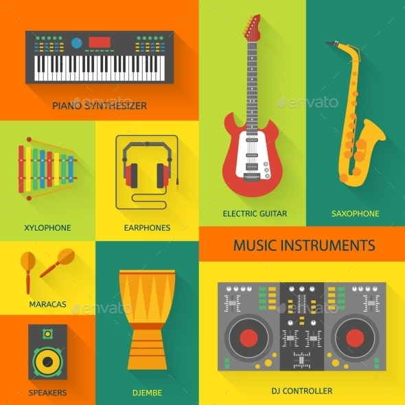 GraphicRiver Musical Instruments Flat Icons 9469645