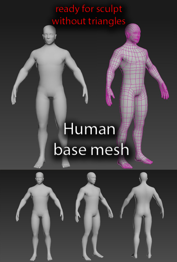 3DOcean Human base mesh male 9469740