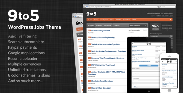 Nine to Five - Premium WordPress Jobs Theme - Directory & Listings Corporate